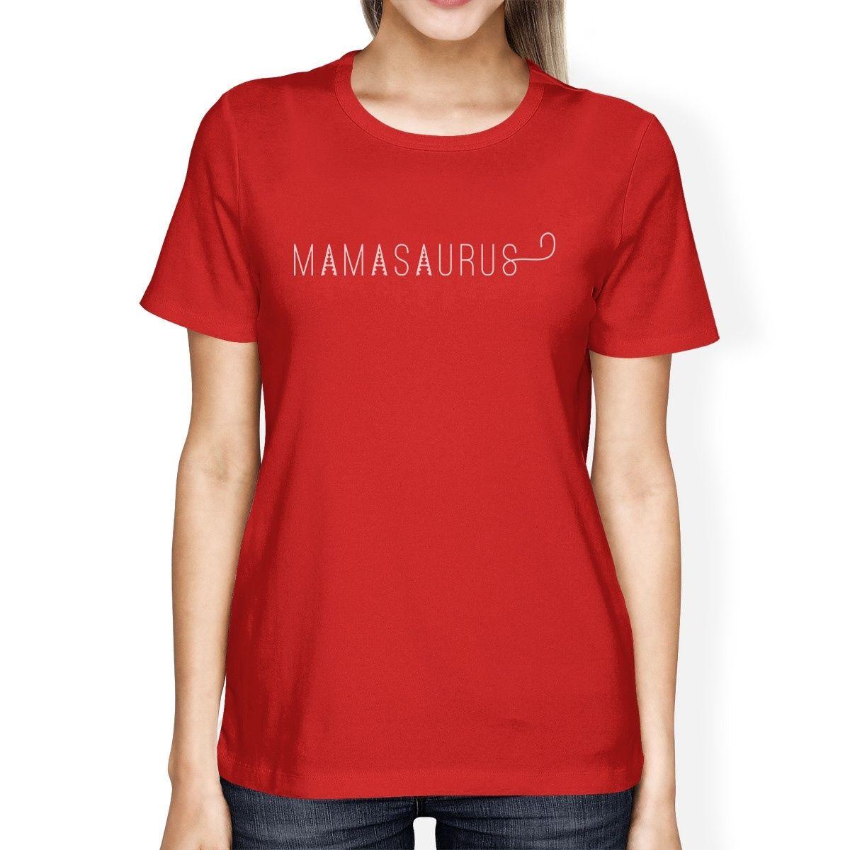 Desain t shirt unik - Mamasaurus Perempuan Merah Lengan Pendek Katun T Shirt Unik Desain T Shirt Murah Grosir Lady S T