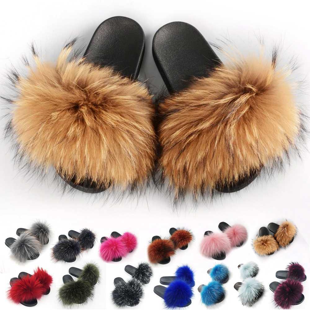 424baa540 Real Raccoon Fur Slippers Women 2018 Sliders Casual Fox Hair Flat Fluffy  Fashion Home Summer Big