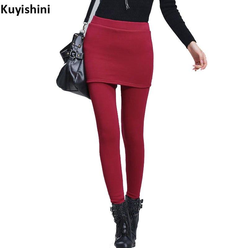 US $23.88  Plus rozmiar XXL 3XL 4XL zima polar damskie ciepłe Skinny spódnica na co dzień spodnie długie spodnie damskie czerwone wino cieplej