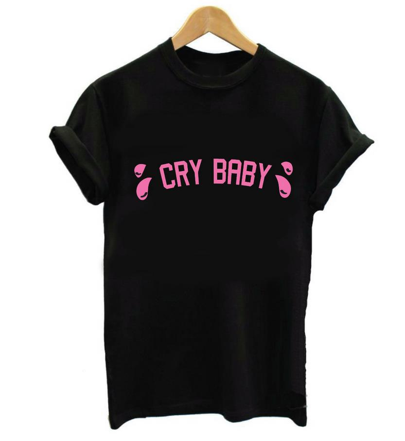 ⑥women T Shirt Cry Baby 【ᗑ】 Pink Pink Letters Print Cotton