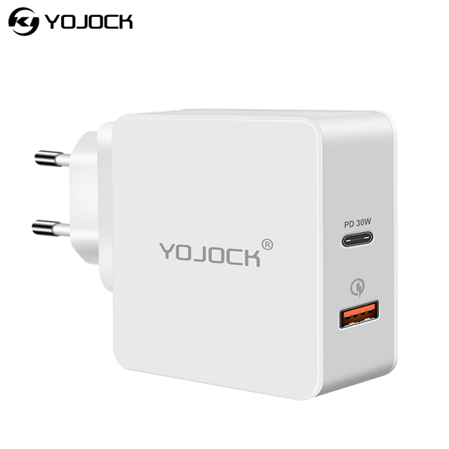 YOJOCK USB-C PD Charger Type C Power Delivery Fast Charger Quick Charge 3.0 Adapter Travel Chargers for iPhone X Xiaomi