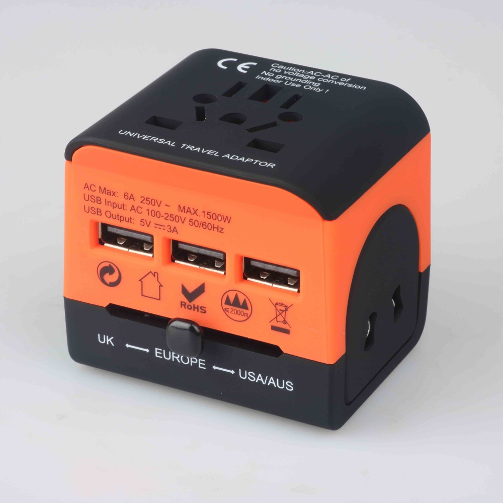 QC 3.0 World Travel Adapter All-In-One International Travel Charger 3 USB Ports Universal AC Outlet Adapter for US/EU/AU/UKQC 3.0 World Travel Adapter All-In-One International Travel Charger 3 USB Ports Universal AC Outlet Adapter for US/EU/AU/UK
