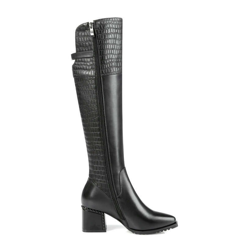 Botas Zapatos Con Marrón Grueso Rodilla Puntiaguda Negro Tacón brown Negro Hasta La Mujer Invierno De Cuero Cremallera Genuino Cómodas Punta BwPxSd66