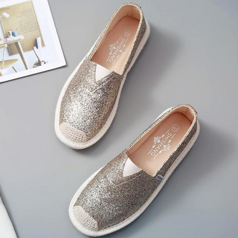 Women Loafers Spring Flat Shoes Ladies Sequin Fisherman sneakers Shoes Lightweight Breathable Golden Loafers Lazy Flats YA40(China)