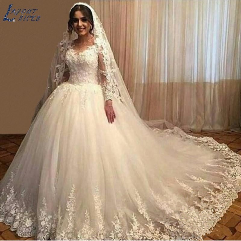 AEC7214 Appliques Lace Wedding Dressees Long Sleeves Ball Gown Vestido De Noiva 2017 Vintage Sheer Tulle