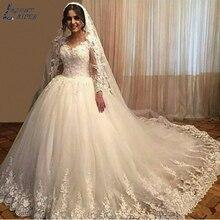 AEC7214 кружевное свадебное платье с аппликацией, бальное платье с длинными рукавами, Vestido De Noiva, винтажное прозрачное Тюлевое платье размера плюс, свадебное платье