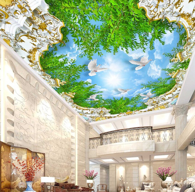 Custom 3D ceiling wallpaper, European style palace and blue sky and white clouds for the living room ceiling wall wallpaper custom 3d ceiling wallpaper beautiful sky maple murals for the living room bedroom ceiling wall waterproof wallpaper