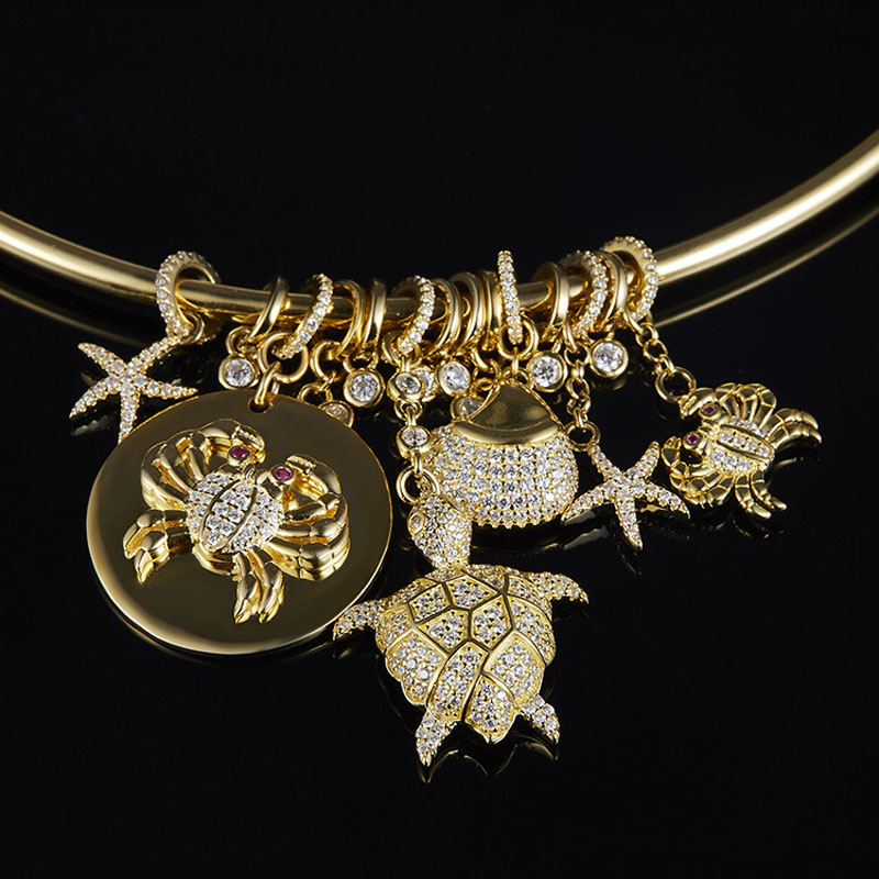 SLJELY Luxury 925 Sterling Silver Gold Color Sea Creatures Choker Necklace with Charm Crab Turtle Shell Star Zircon for Women