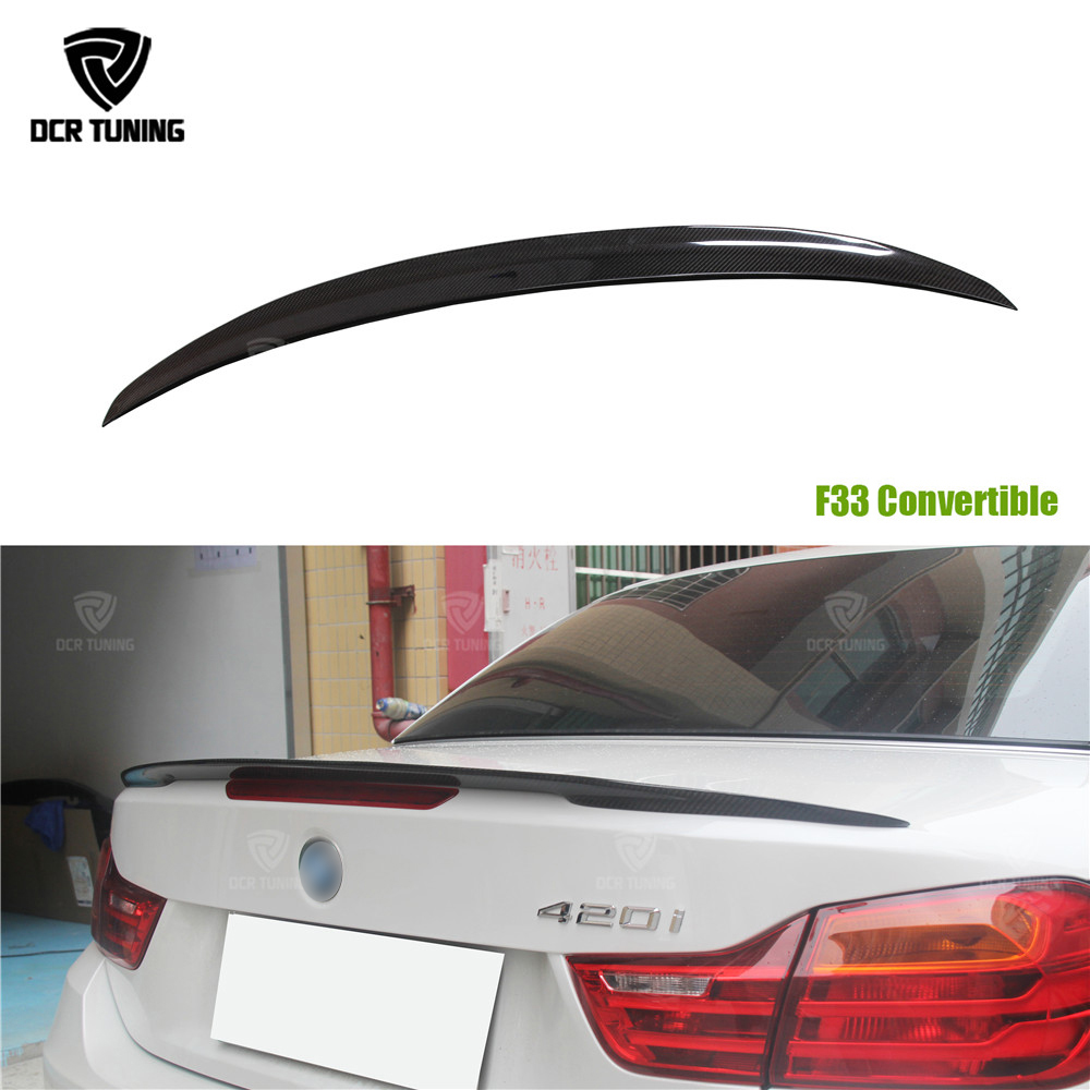 For BMW F33 Convertible 4 Series 420i 428i 435i F83 M4 Performance Style Carbon Fiber Rear Trunk Spoiler 2014 2015 2016 - UP 2pcs new style m performance side skirt sill decal stripe vinyl sticker for bmw 4 series f32 f33 420i 428i 435i