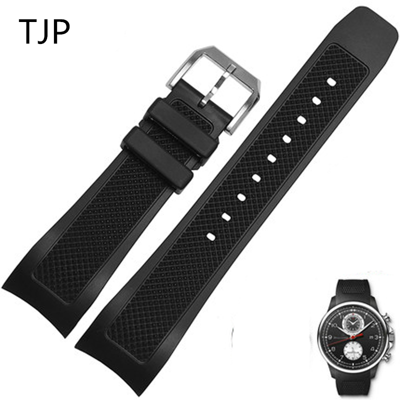 TJP 22mm Black Waterproof Natural Rubber Watchband Watch Strap Replace IWC/IW390211 IW390209 PORTUGIESER Bracelet wristband tjp brands silicone rubber watch strap 22mm 24mm black watchbands bracelet for breitling nnavitimer avenger wristband