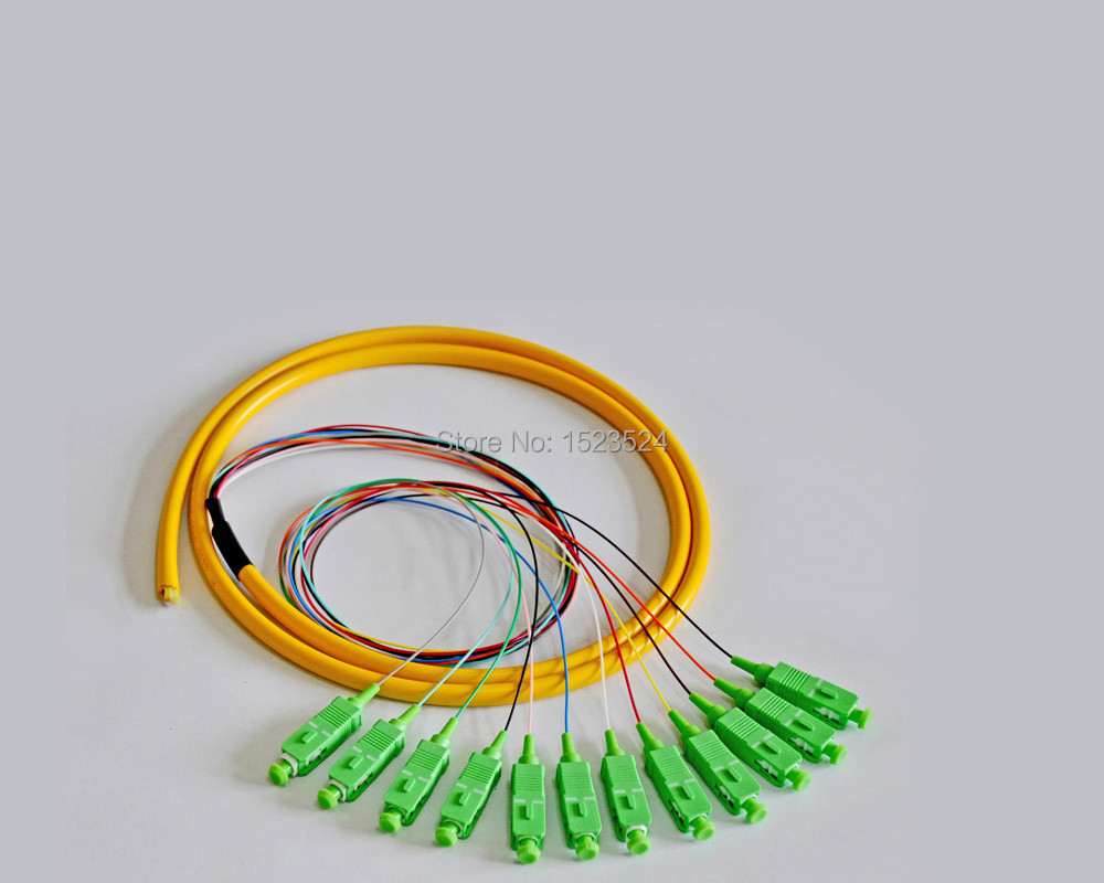 12 Cores 12-fiber 0.9mm 1.5 M 9/125 Singlemode Sc/apc Knoestig Bundel Pigtail Glasvezel Pigtail