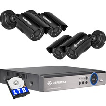 DEFEWAY 1080N HDMI DVR 1200TVL 720P HD Outdoor Home Security Camera System 1TB 4CH Video Surveillance DVR AHD CCTV Kit  цена в Москве и Питере