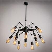Лофт RH Эдисон паук черная потолочная лампа промышленная лампа винтажная окрашенная отделка 12 свет