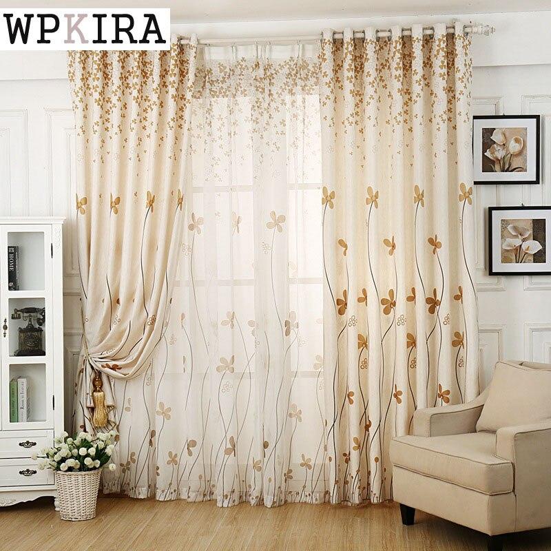 Rustic Flower Sheer Tulle Sweet Curtains Living Room Window Screening Voile Curtain Fancy