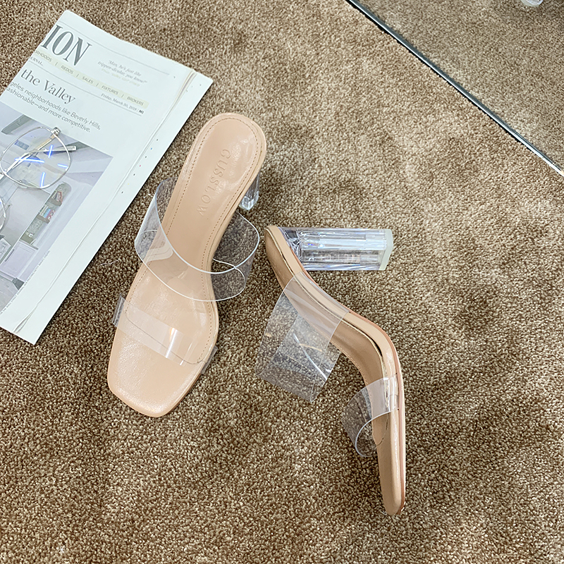 Transparent Sandals Women Sexy High Heels Sandals Summer Women Shoes 2019 New Soft Slip On Sandals Heels Slippers Open Toes in Slippers from Shoes