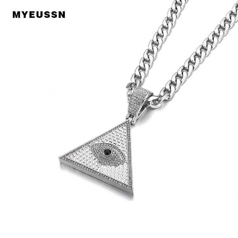 Tam Giác Kim Tự Tháp Ai Cập Cổ & Mặt Dây Chuyền Cuba Dây Chuyền Đá Ra Illuminati Ác Mắt Của Horus Hip Hop Trang Sức