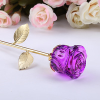 XINTOU Crystal Glass Rose Flower Crafts Wedding Valentine's Day Favors and Gifts Home Table Decor artificial flowers Souvenirs
