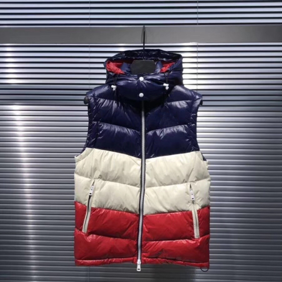 Blue white red three color stitching Hooded down vest male Filled with %95 white duck down Warm slimming casual men's down vest