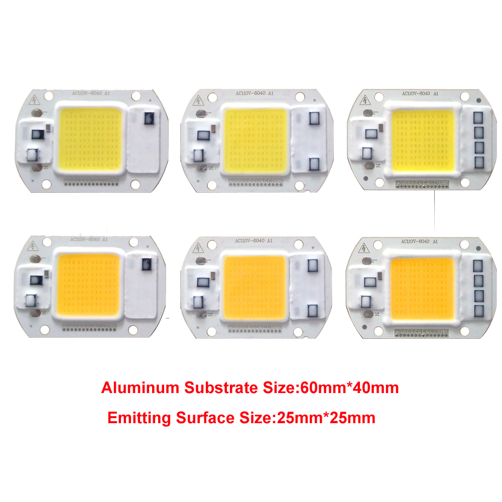 50 PCS LOT LED COB Chip Lamp 20W 30W 50W AC110V 220V IP65 Smart IC Fit