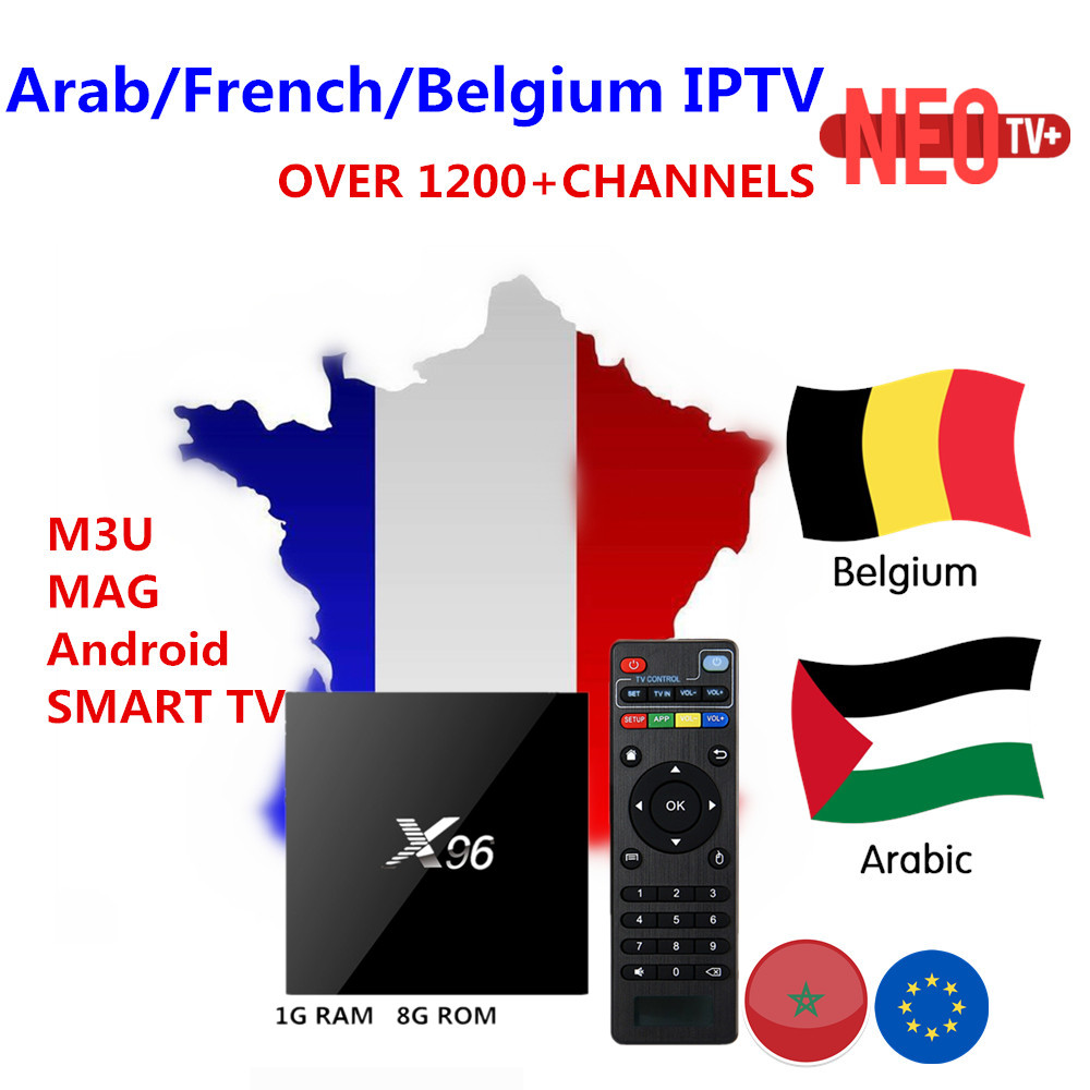 Best French IPTV X96 Android TV Box with 1200 Channels-European Europe Arabic France Belgium NEO IPTV Code Live TV Smart set top french iptv box android tv box with 1year 1300 arabic france iptv belgium code live tv