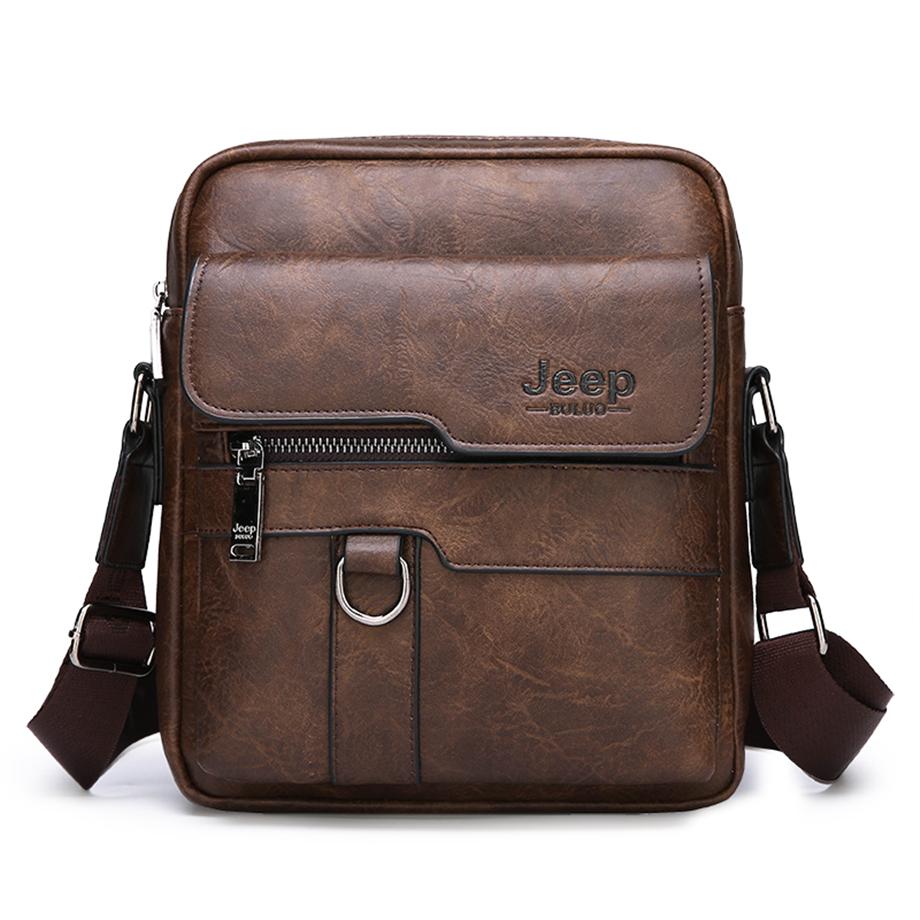 JEEP BULUO Luxury Brand Men Messenger Bags Crossbody Business Casual Handbag Male Spliter Leather Shoulder Bag Large Capacity 3