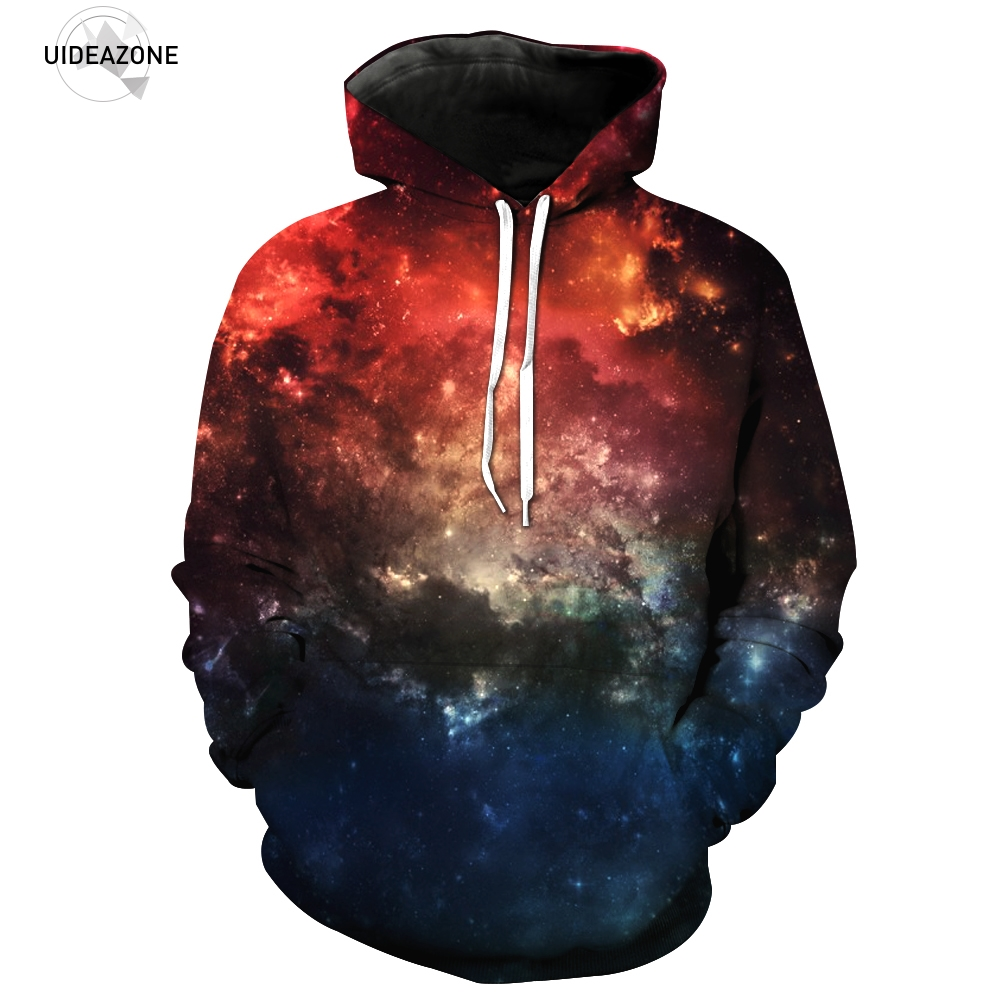 UIDEAZONE Space Dark Galaxy Hoodies Men 3D Printed Sweatshirt 2017 Spring Autumn Tracksuit Fashion Hooded Jackets