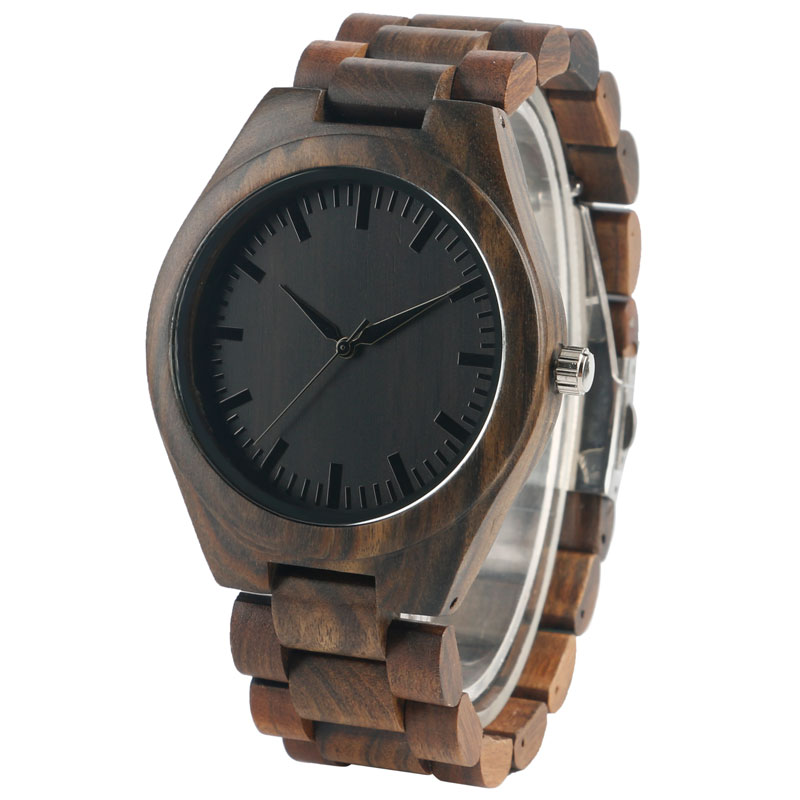 Unique Design Hand-made Nature Men's Quartz Black Dial Watches with Full Wooden Watchband for Gift Reloj de madera 2016 men gift enmex brief design creative upside down hand unique design for young fashion unique quartz watches