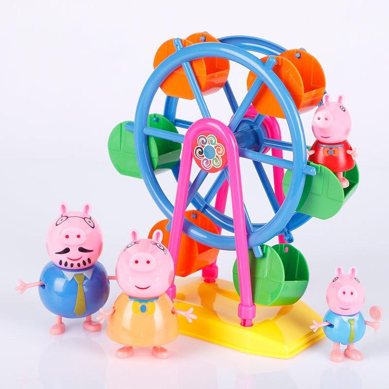 Peppa Pig George Family Ferris Wheel Toy Set Doll Real Scene Model Amusement Park PVC Action Figures Toys