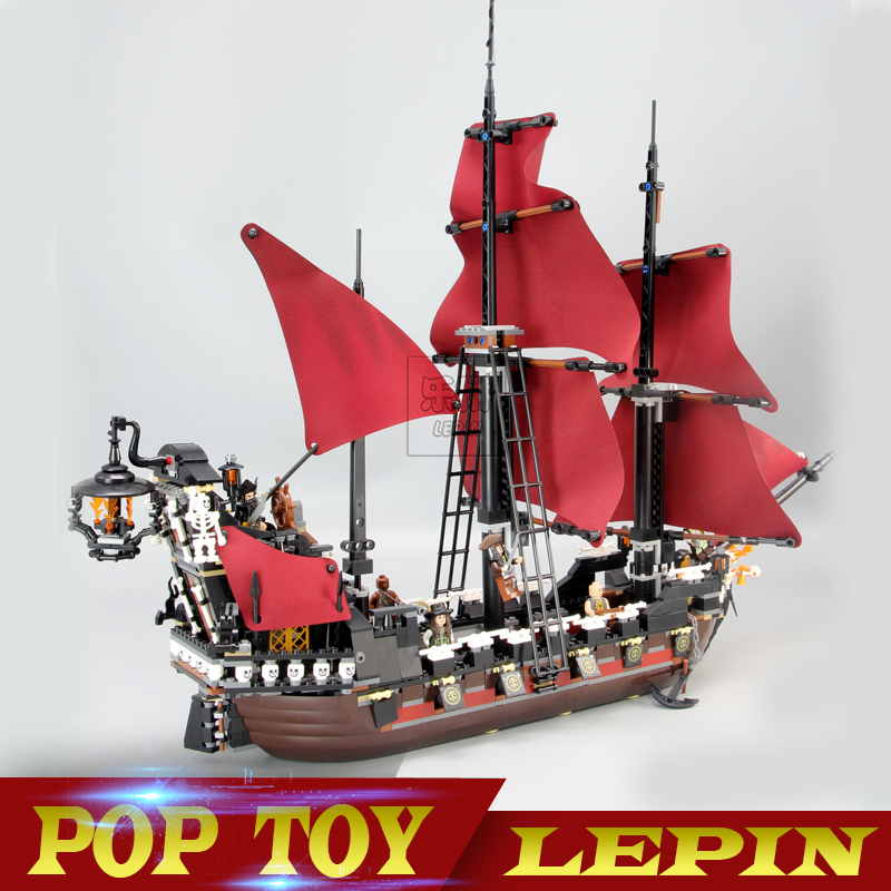 New LEPIN 16009 1151pcs Queen Anne's revenge Pirates of the Caribbean Building Blocks Set Compatible legoed with 4195 Children lepin 16009 caribbean blackbeard queen anne s revenge mini bricks set sale pirates of the building blocks toys for kids gift