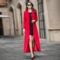 Red long trench coat 2017 European and American fashion autumn new Women Slim thin lapel single breasted plus size windbreaker
