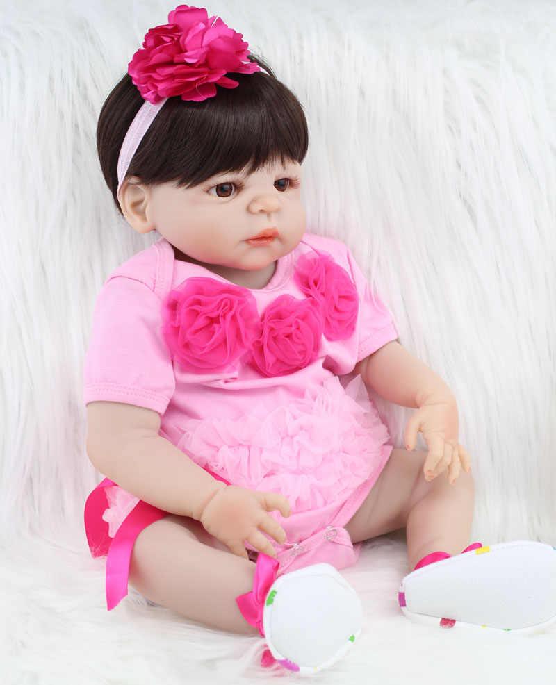 55 см полное тело силикона Reborn Девочка Кукла игрушка Реалистичная Розовая Принцесса платье новорожденные младенцы кукла милый подарок на день рождения игрушка