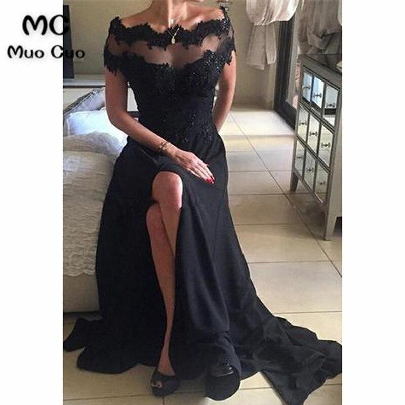 Black 2018 Off Shoulder Evening Party Dresses Front Slit Short Sleeve Chiffon Long Evening Dresses For Women