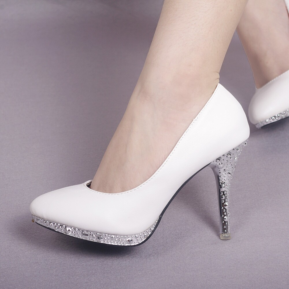 fa8bb627b862 Free Shipping fashion 10CM trend Romantic white pumps speclal glitter Party  shoes woman high heel Wedding Prom pointed toe Heels
