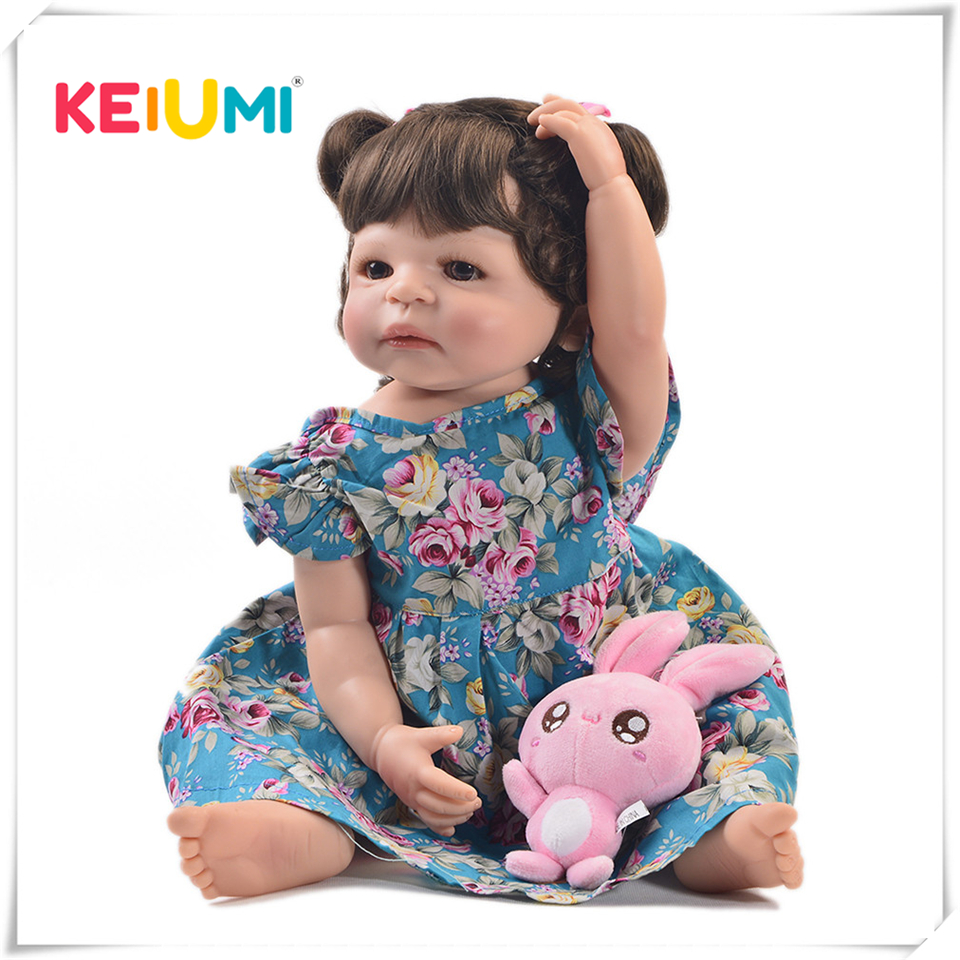 KEIUMI 22 Inch Fashion Reborn Alive Girl Doll Full Body Silicone Realistic Princess Baby Doll For Kids Xmas Gifts DIY Hair Style