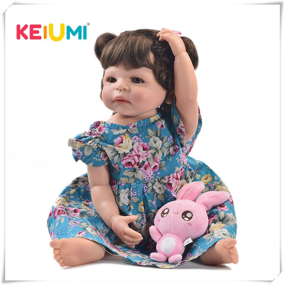 Keiumi 22 Polegada moda renascer vivo menina boneca de corpo inteiro silicone realista princesa boneca do bebê para crianças presentes natal diy estilo cabelo