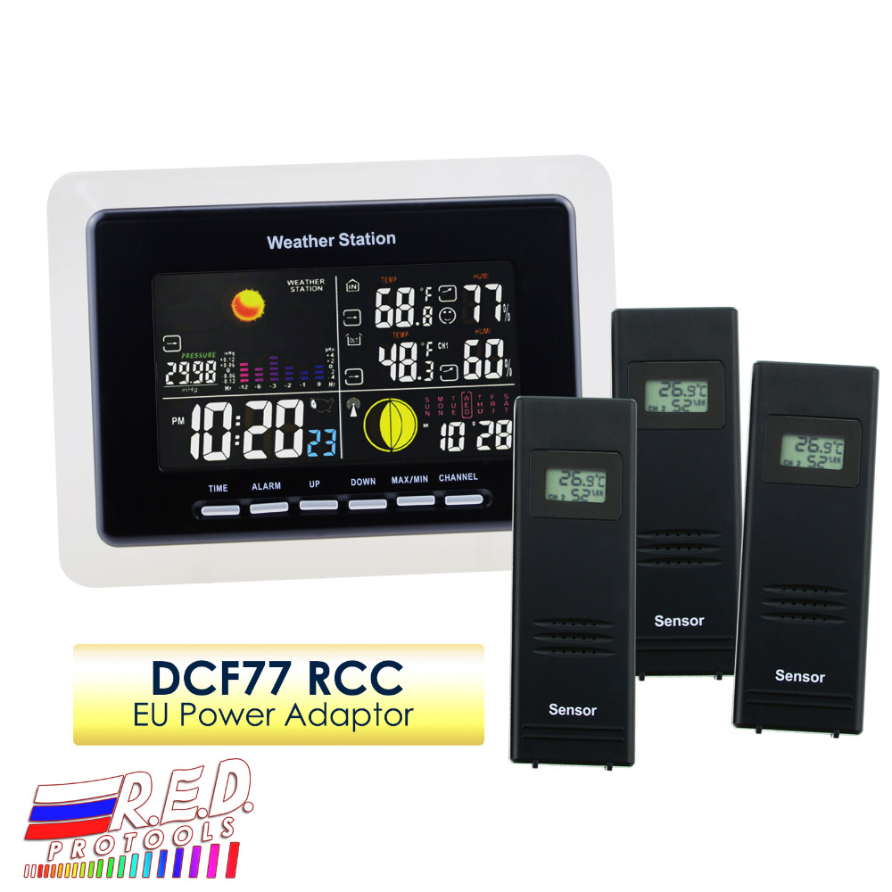 Weather Station + 3 Wireless Sensor DCF RCC Receiver With 5 Weather Forecast With Am/Pm Indicator and LED Outdoor/Indoor цена