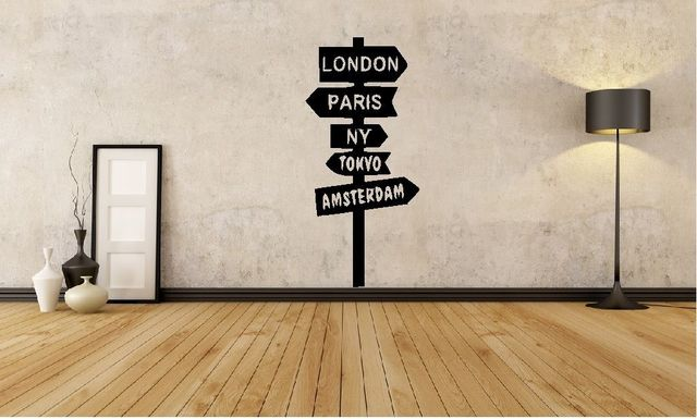World Sign Post London New York Wall Art Decal Home Travel Sticker New