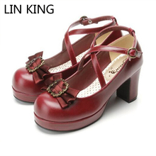 LIN KING Fashion Sweet Bowtie Women Shoes Solid PU Leather Platform Lolita Cosplay Shoes Square Heels Round Toe Princess Shoes