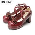 LIN REY Moda Dulce Bowtie Mujeres Zapatos Solid Cuero de LA PU Plataforma Lolita Cosplay Zapatos de Tacones Cuadrados Del Dedo Del Pie Redondo Zapatos de La Princesa