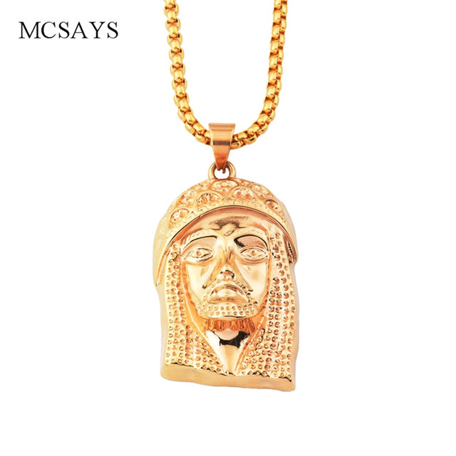 Mcsays stainless steel hip hop necklace jesus head pendant box chain mcsays stainless steel hip hop necklace jesus head pendant box chain silver color religious necklace mens aloadofball Gallery