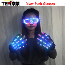 LED Color Changing Lighting Gloves Hallowamas Stage Props Flash Rivet Punk Glasses For Holiday Party Events Shows
