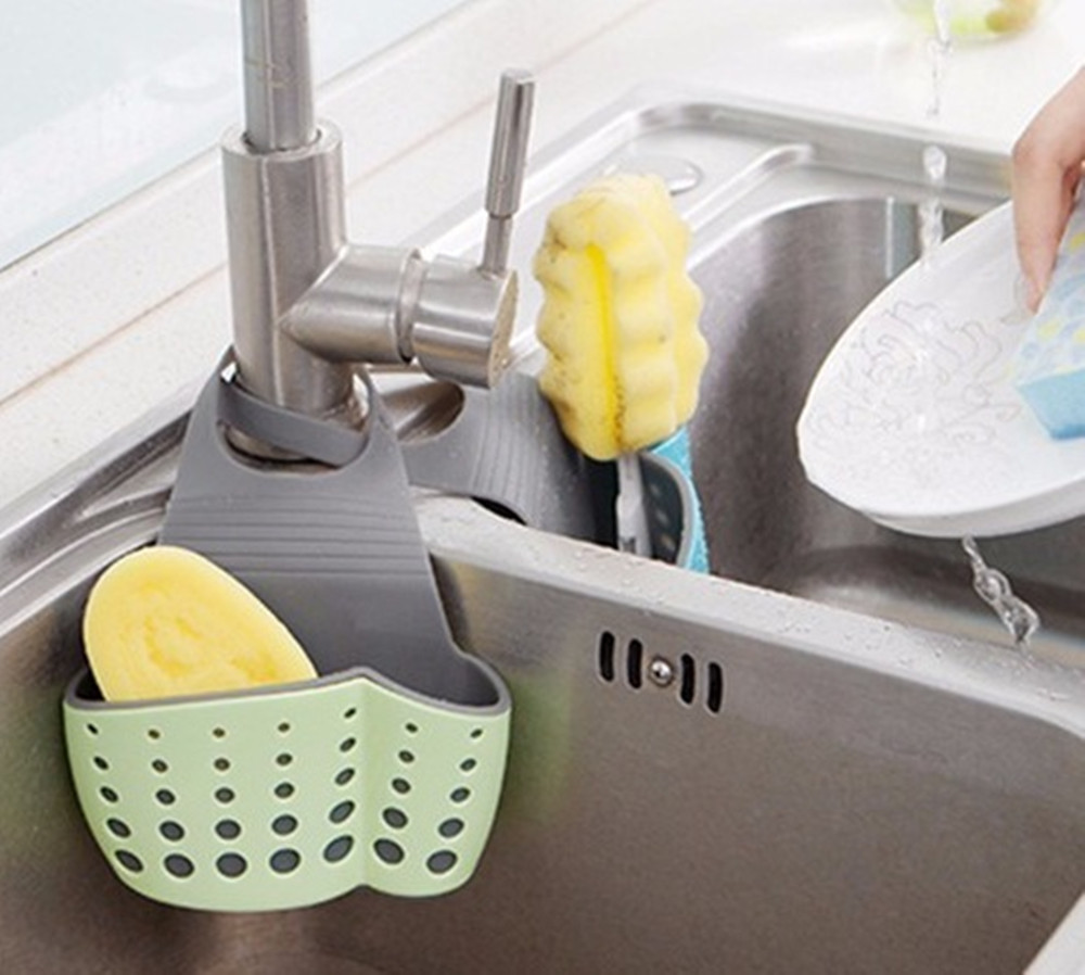 High Quality Kitchen Suction Cup Base Brush Sponge Sink Draining Plastic Holder Towel Rack Storage Box for Kitchen Cleaning Tool