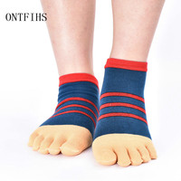 5pairs Cotton Stripes Casual Split Unisex Toe Socks Sweat Deodorant Breathable Five Fingers Socks Male Flmale