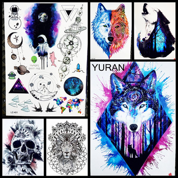 Hot style dreamcatcher wolf temporary tattoo stickers for women body art arm flash tatoo 21