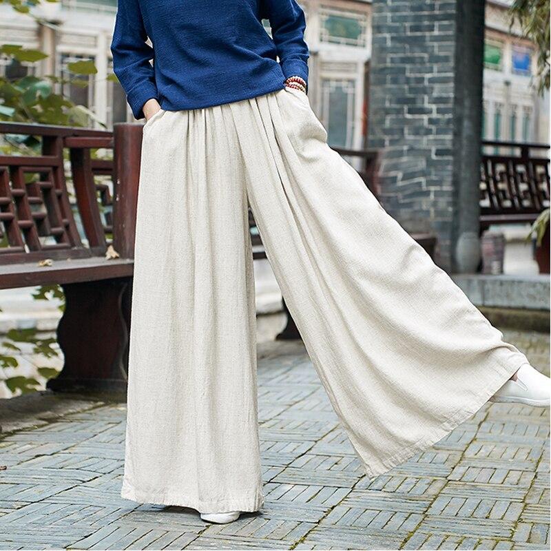 Johnature Women Linen Wide Leg Pants Elastic Waist 2018 Autumn Winter New Pockets Plus Size Women Clothing Loose Vintage Trouser