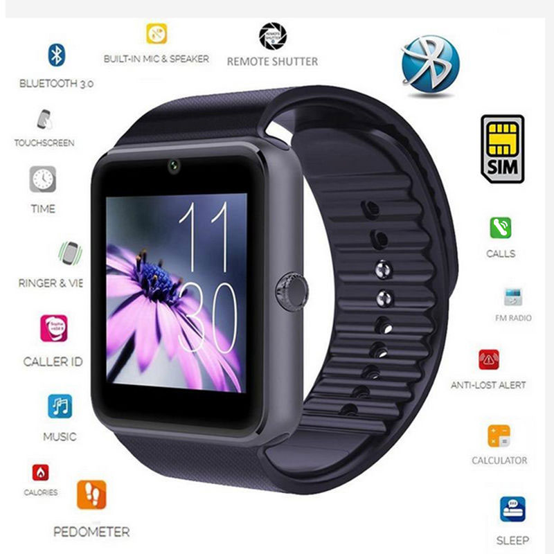Smartwatch GT08 Fitness Activity Tracker Pedometer Touch Screen Cam with SIM TF Card Man Smart Watch for iPhone Android Xiaomi