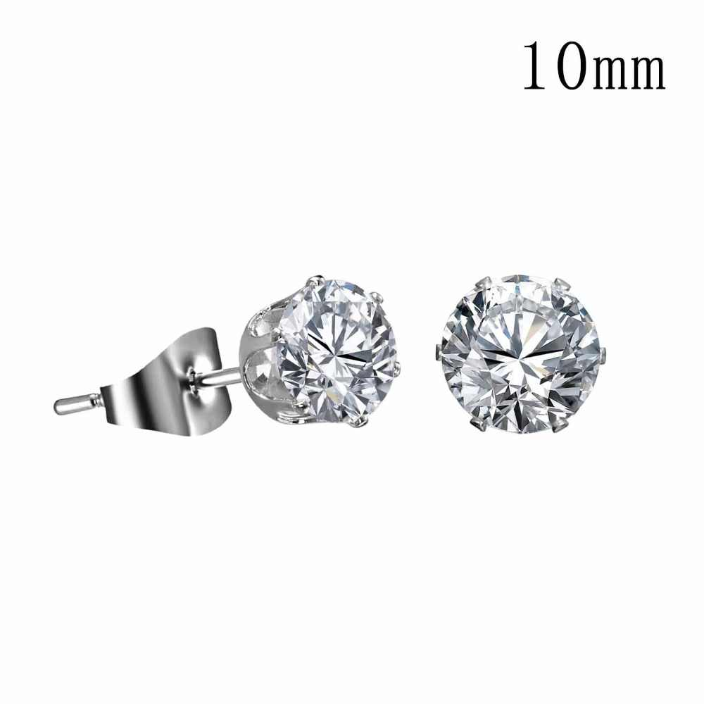 Silver Color Round Stud Earrings