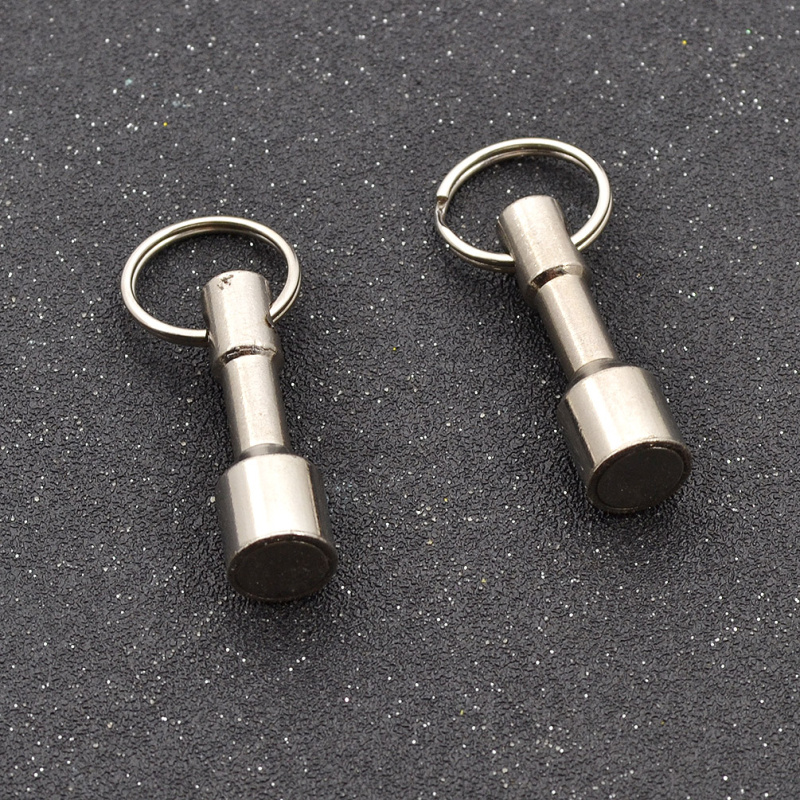 Fashion Lychee 2pcs Neodymium Hook Magnets Key Chain Silver Scrap Pocket Key Ring Jewelry Test Holder