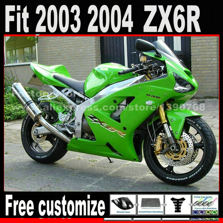 цена на High quality fairing kit for 2003 2004 Kawasaki ZX6R Ninja 636 green ZX636 ZX-6R 03 04 Fairings set AN2