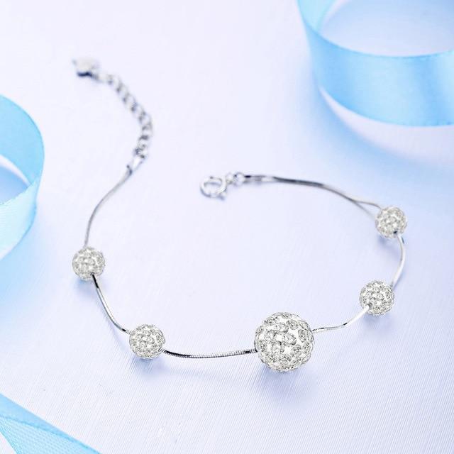 925 Sterling Silver Bracelet 925 Silver Classic Fashion Lucky Ball Bracelet